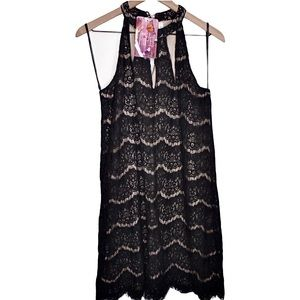 Dresses & Skirts - Black and cream halter lace dress